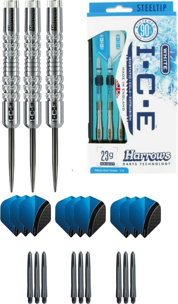 Harrows - ICE 22 gram Knurled grip - dartpijlen - plus 3 sets - dartshafts - en 3 sets - dartflights