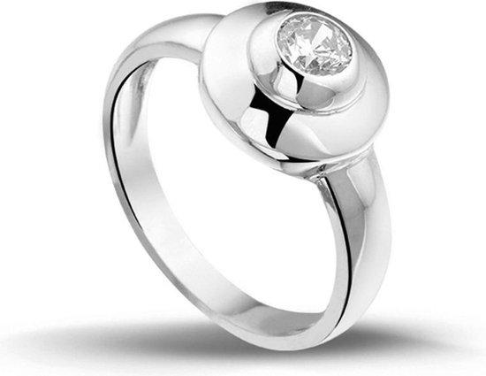 Silventi 943282154 58 Zilveren Ring - met ronde Zirkonia - Zilverkleurig