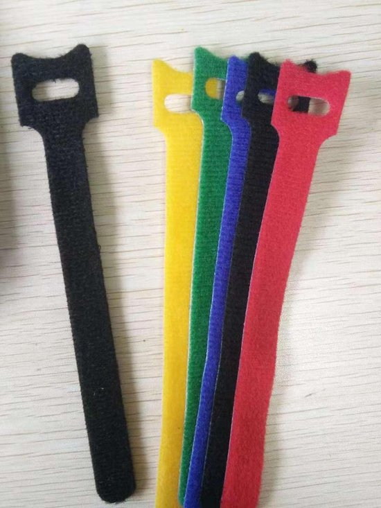 20 stuks Kabelbinders klittenband 12x150 mm Zwart