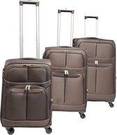 3 delig bagage stoffen koffer set 4 wielen trolley - Bruin