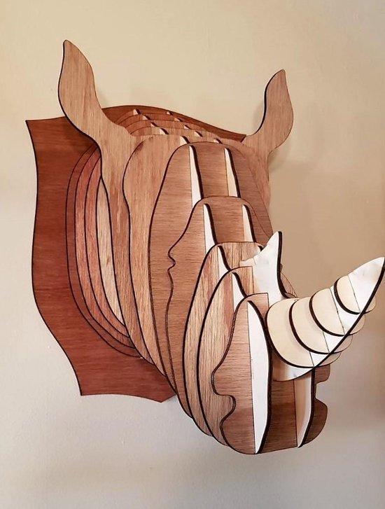 """Diervriendelijke houten jachttrofee """"Neushoorn"""""""