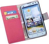 Lelycase Bookcase Huawei Ascend G730 Flip Wallet Hoes Pink
