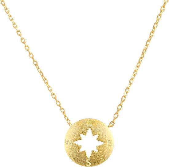 Fate Jewellery Ketting FJ4013 - Travellers collection - Kompas - 925 Zilver, goudkleurig verguld - 45cm + 5cm