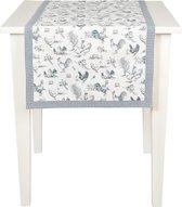 Mooi landelijk tafelloper met kippen motief afgewerkt met een leuk ruitjes patroon - 50 x 140 cm - Blauw