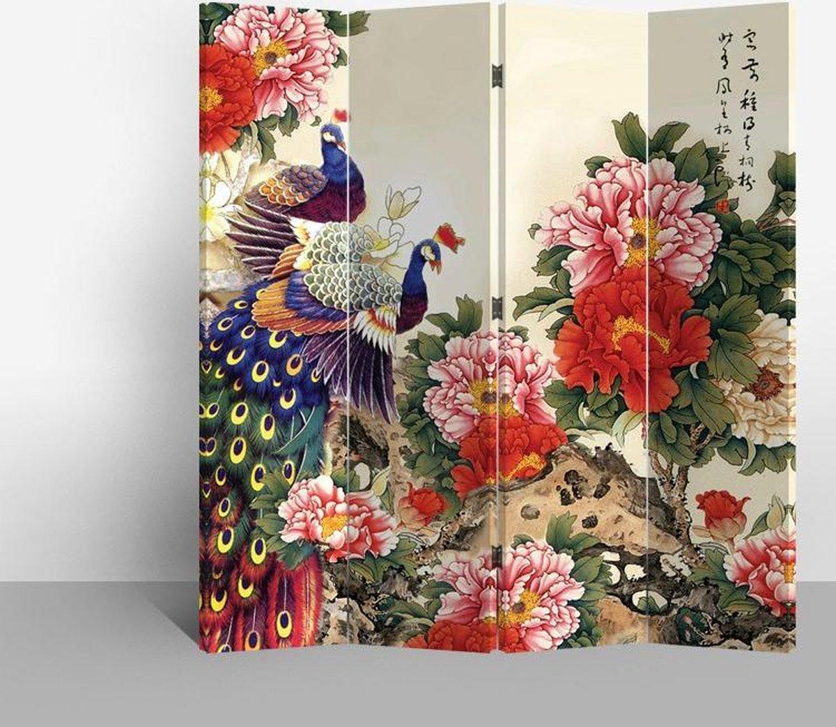 Orientique Kamerscherm 4 Panelen Pauwen met Rode Bloemen Canvas Room Divider Scheidingswand - Orientique