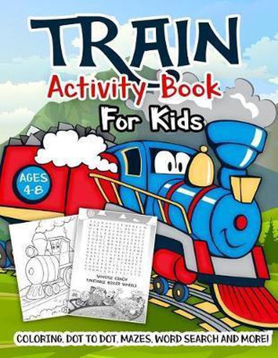 Train Activity Book for Kids Ages 4-8