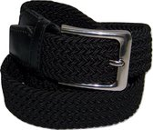 Zwart - Elastische Comfort Riem - maat140 cm - Gevlochten - 100% Elastisch - Nikkelvrije Gesp