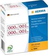 HERMA 4886 nummer etik. 10x22 mm rood