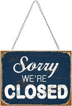 Signs-USA Sorry We Are Closed - Retro Wandbord - Metaal - 33x40 cm