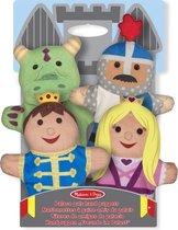 Melissa & Doug Kasteelvriendjes handpoppen (set van 4) - prins, prinses, ridder en draak - Multi