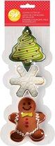 Wilton Koekjesuitstekers Kerst Kerstboom - Sneeuwvlok - Gingerbread Mannetje Set van 3