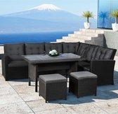 Polyrotan lounge dining set - Santa Catalina - Zwart