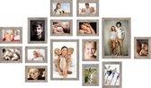 Deknudt Frames Fotowand grijsbeige houtkleur, 15 kaders S45RH7 met handige meetlat voor plaatsing. 11x 10x15cm, 2x 13x18cm, 2x 20x30cm fotomaat 0x0 cm