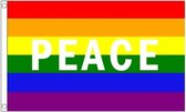 Regenboog Peace vlag 90 x 150 cm