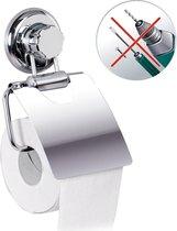 Luxe Hangende RVS Toiletpapier Houder Met Klep - WC Rolhouder Hangend Verchroomd - Closetrolhouder - Megalock Zuignap - Zonder Boren