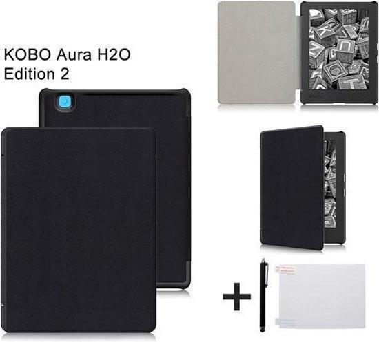 PU Leren Sleepcover Beschermhoes Voor De Kobo Aura H2O Edition 2 2017 - H20 2 6,8 Inch Slimfit Smart Case Cover Sleeve Hoes - Zwart - Merkloos
