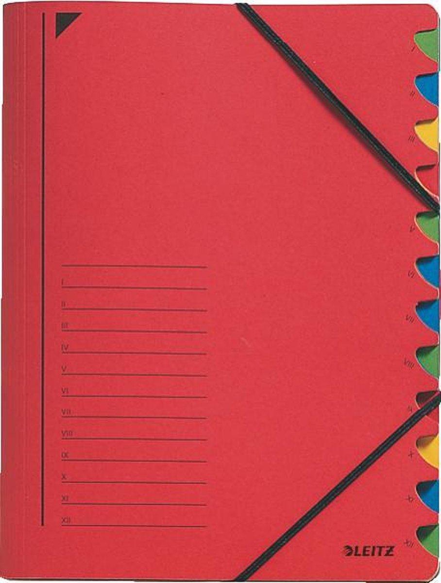 Leitz Bureau Sorteermap Karton - 12-tabs - A4 - Rood
