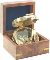 Kompas – nautisch – goudkleurig – houten kistje – 10,5 x 9,5 x 7 cm - Messing - spiegelkompas