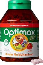 Optimax Kinder Multi Vanaf 1 Jaar Multivitaminen - Aardbei - 180 Kauwbeertjes