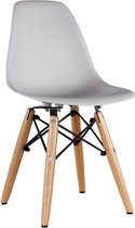 Kinderstoel - Kunststof - Houten onderstel - Muisgrijs