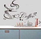 Erg mooie koffie sticker met hart en bonen