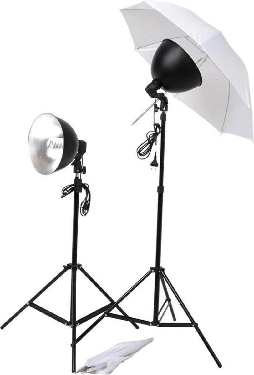 vidaXL Studiolampenset 24 W Studiolamp Statief Statieven Paraplu Fotografie