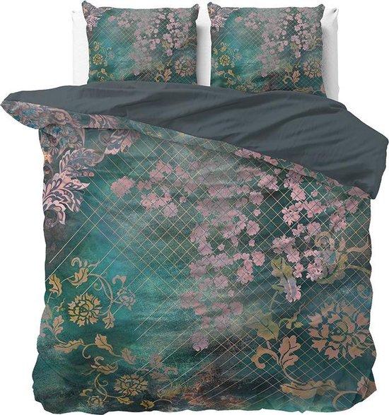 Dreamhouse Tiran Flower - Dekbedovertrekset - Lits-Jumeaux - 240x200/220 2 kussenslopen 60x70 - Groen
