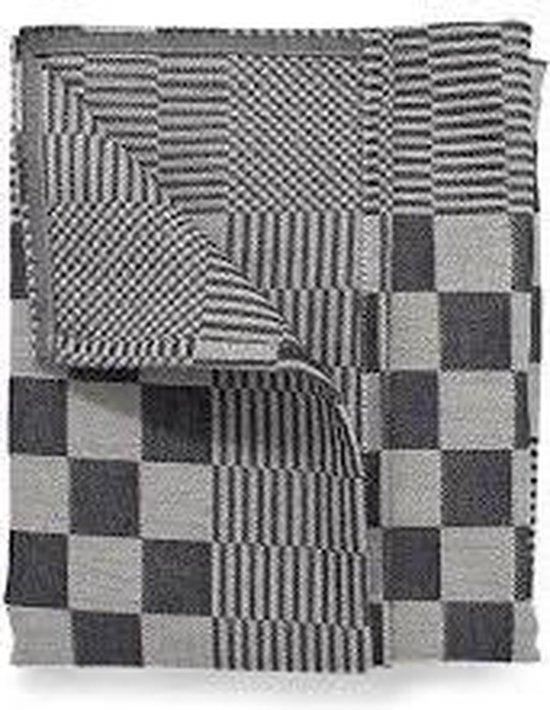 Theedoeken, 6 Stuks, Zwart en Wit Geblokt, 70x70cm, Treb Towels