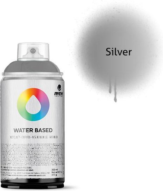 MTN Zilveren waterbasis spuitverf - 300ml lage druk en matte afwerking