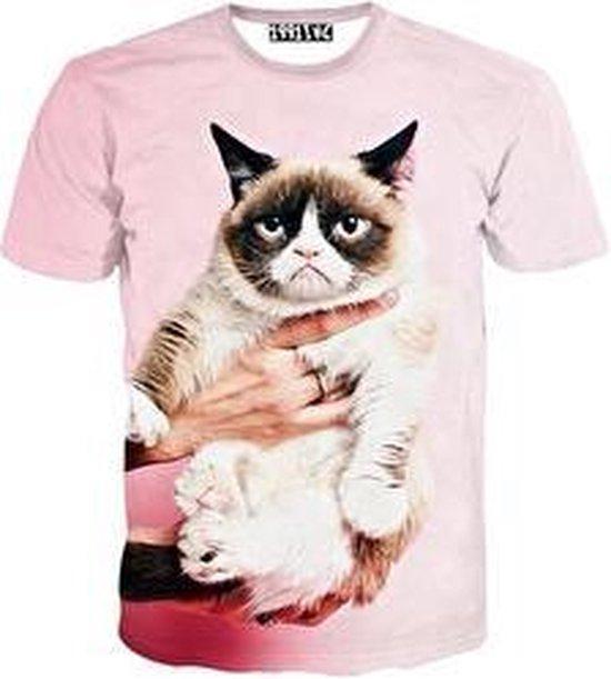 Grumpy cat roze festival shirt Maat L Crew neck