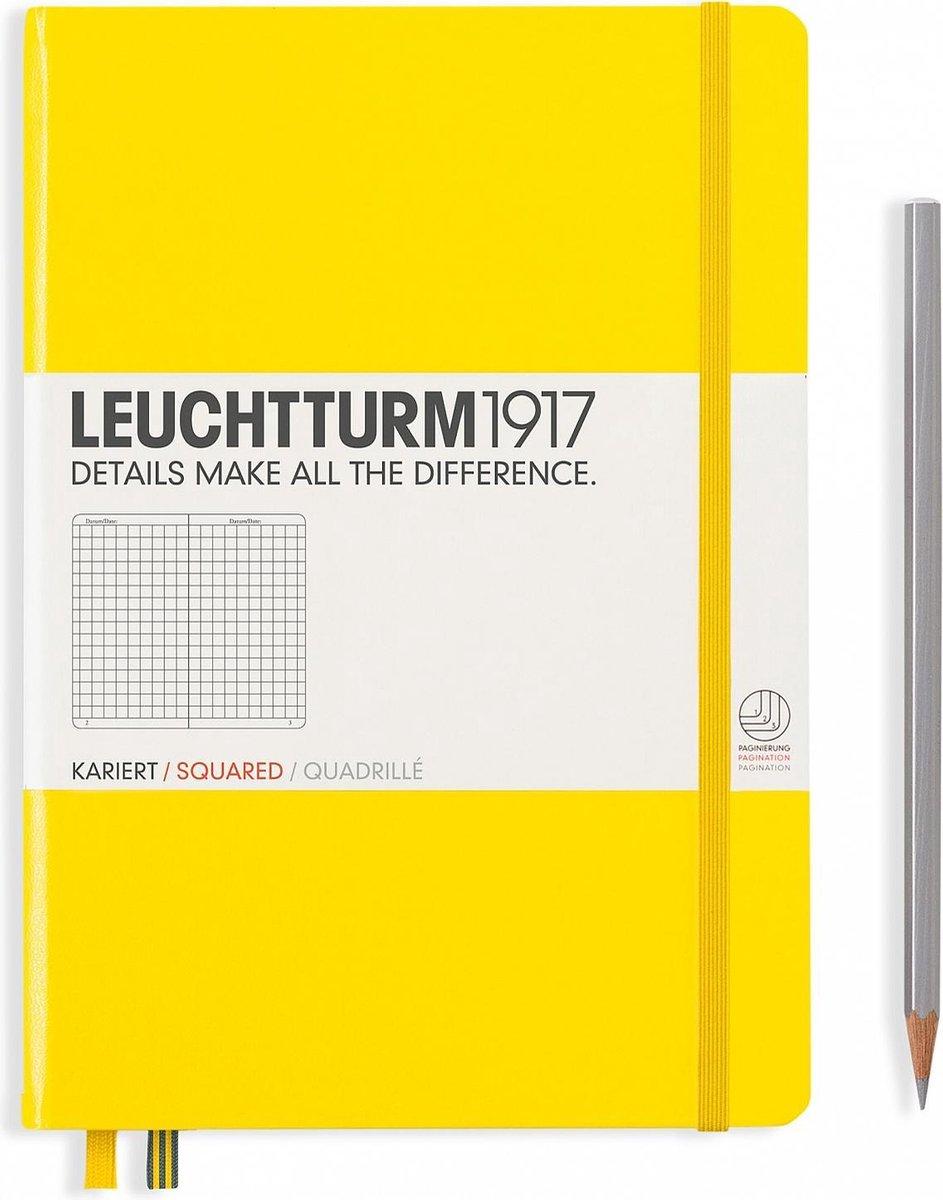 Leuchtturm1917 Notitieboek Lemon - Medium - Geruit