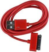 2 stuks - iPhone 4 USB oplaad kabel rood | 1 METER kabeltje voor iPhone 4/4G/4S/3G/3GS/iPod 1/2/3
