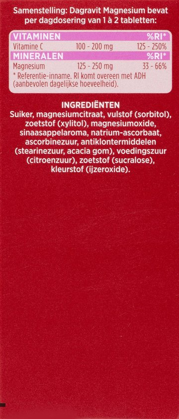Dagravit Magnesium - Multivitamine - Citroensmaak - 50 tabletten