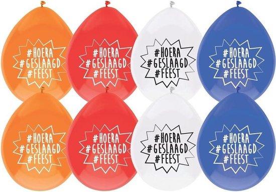 8x Geslaagd versiering ballonnen hoera/geslaagd/feest