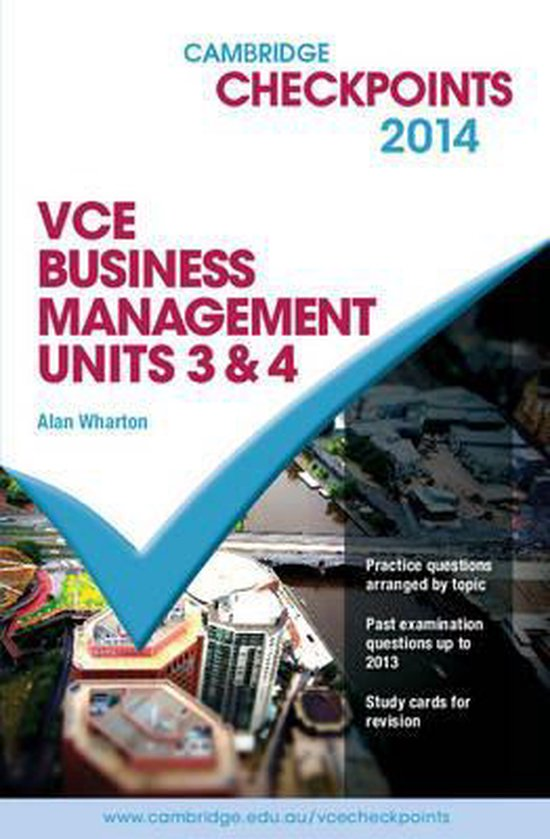 Cambridge Checkpoints VCE Business Management Units 3 and 4 2014 and Quiz Me More