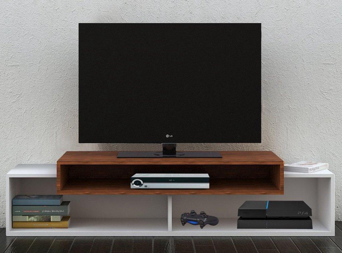 Tv Meubel Wit Noten.Bol Com Modern Tv Meubel Tv Kast Monaco Wit Noten