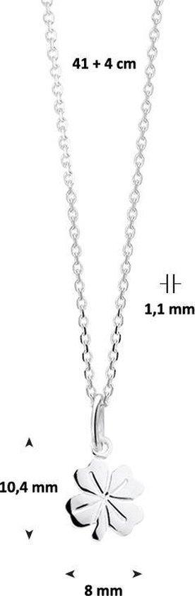 Glams Ketting Klaver 1,1 mm 41 + 4 cm - Zilver