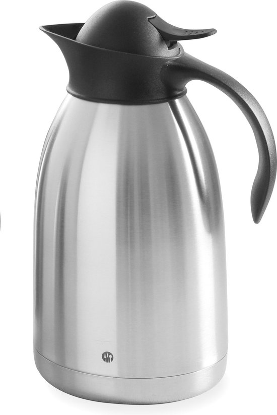 Thermoskan Hendi 1.5 liter - Met drukdop - Zwart
