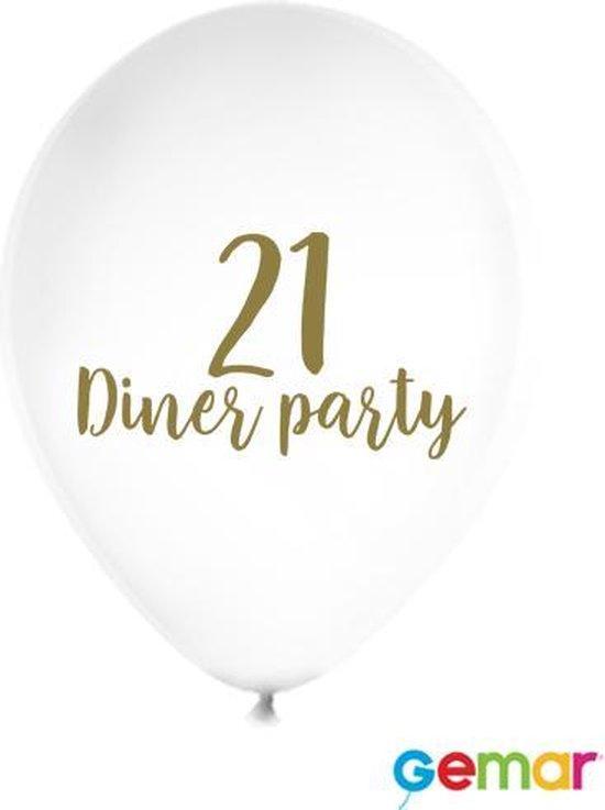 """Ballonnen """"21 Diner party"""" Wit met opdruk Goud"""