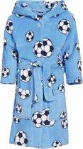 Blauwe badjas/ochtendjas met voetbal print voor kinderen. 134/140 (9-10 jr)