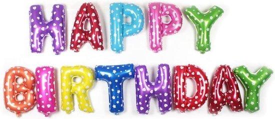 XL Folie Letters Happy Birthday Versiering - Opblaas Verjaardag Letter Slinger - Letterslinger (ex Helium)