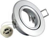 Inbouw spot GU10 - aluminium - rond armatuur - gepolijst - zilver/zilver 85mm