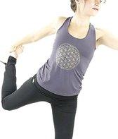 Yoga top - Flower of life - Donker Grijs - Maat L