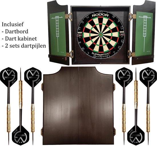 Dragon darts - Pro complete – dartkabinet – inclusief – nodor-winmau dartboard – inclusief 2 Michael van Gerwen - dartpijlen