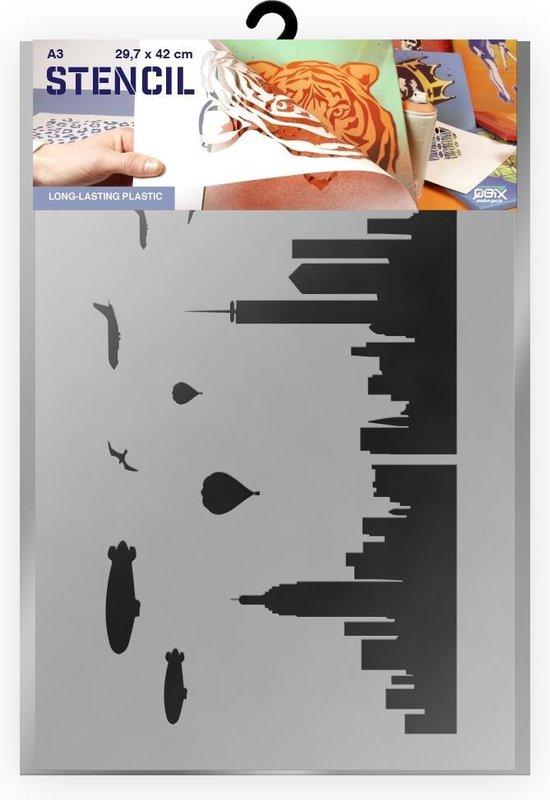 New York skyline sjabloon - Kunststof A3 stencil - Kindvriendelijk sjabloon geschikt voor graffiti, airbrush, schilderen, muren, meubilair, taarten en andere doeleinden