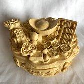 Feng Shui schatpot welvaartskom met geluksmuntjes, Ruyi, Goudsklompje, telraam, perzikpitten, 16x14x9cm 1.6kg
