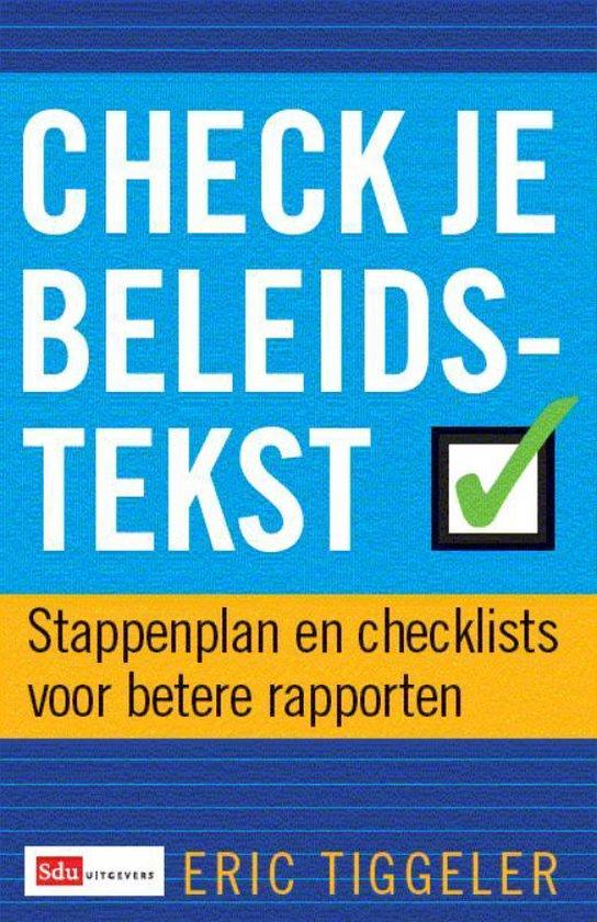 Check je beleidstekst - E. Tiggelaar pdf epub