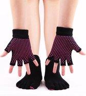 Yoga sokken en handschoenen - Sportsokken Antislip - Zwart - One size