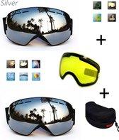 Ski bril met box en EXTRA lens Smoke Zilver frame Zwart F type 7 Cat. 0 tot 4 - ☀/☁