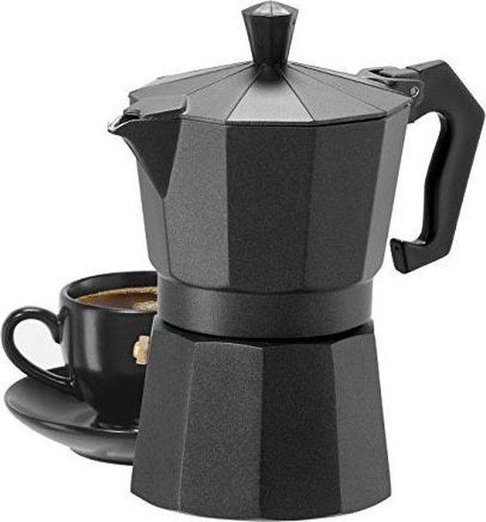 XL Percolator 9 Kops - Mokkapot Coffee Espresso Maker - Italiaanse Koffiepot Moka Express Pot - 450ml - Zwart